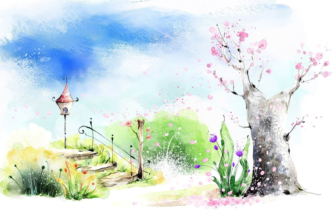 Photo wallpaper greens, the sky, clouds, flowers, mood, figure, spring, art, watercolor, ladder, flashlight, picture, flowering tree