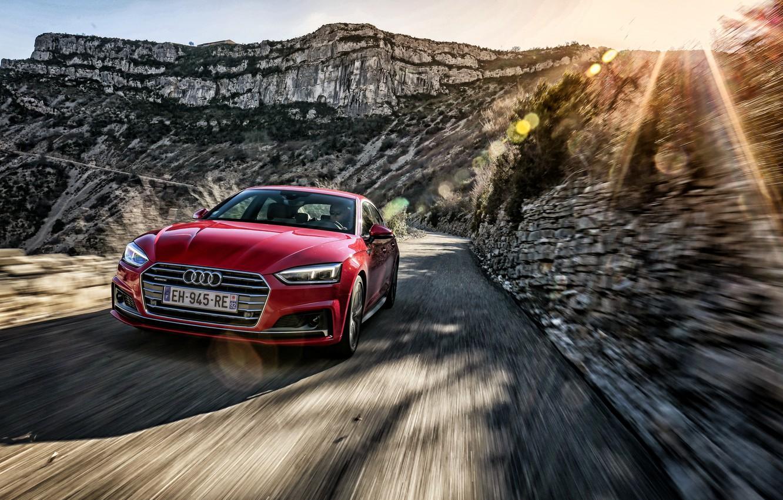 Photo wallpaper road, the sun, Audi, Audi, Sportback
