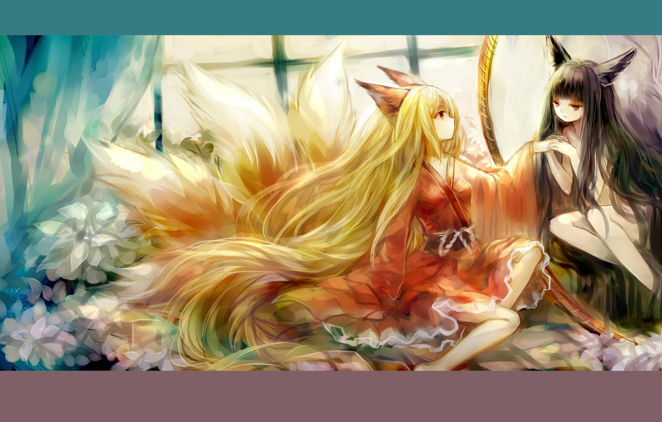 Photo wallpaper window, red, kimono, ears, long hair, friend, nine-tailed Fox, fox girl
