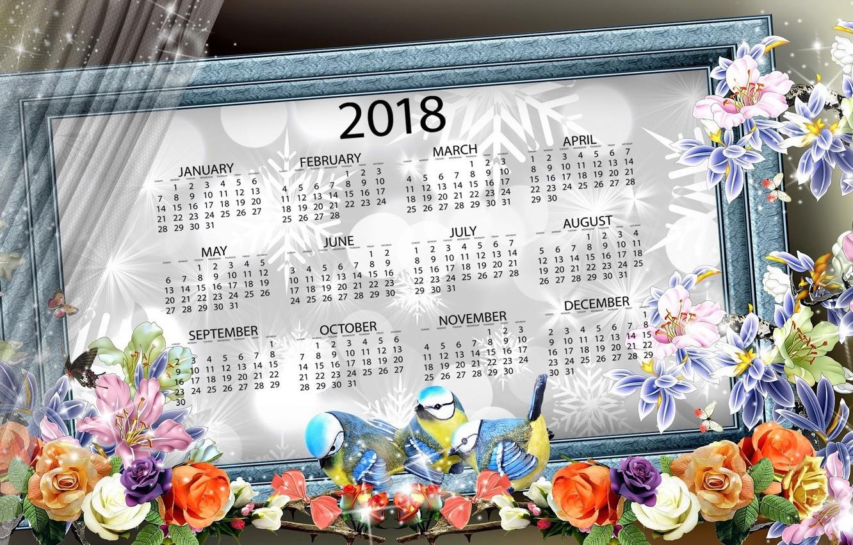 Photo wallpaper flowers, new year, calendar, 2018