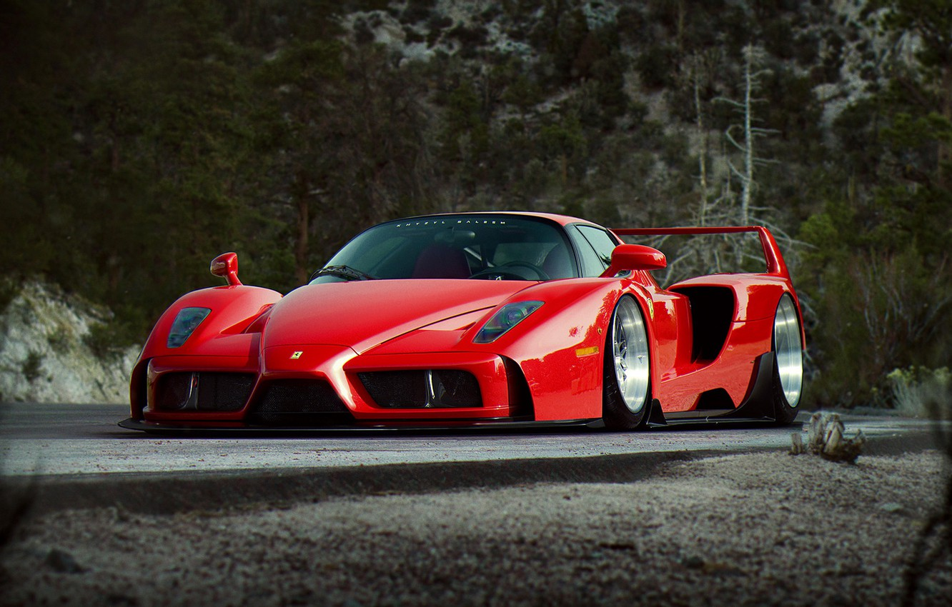 Photo wallpaper Ferrari, Red, Enzo, Tuning, Future, Supercar, by Khyzyl Saleem