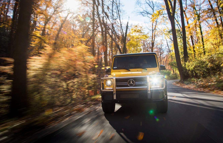 Photo wallpaper autumn, Mercedes-Benz, speed, front view, AMG, G-Class, Gelandewagen, G63, 2017, Colour Edition