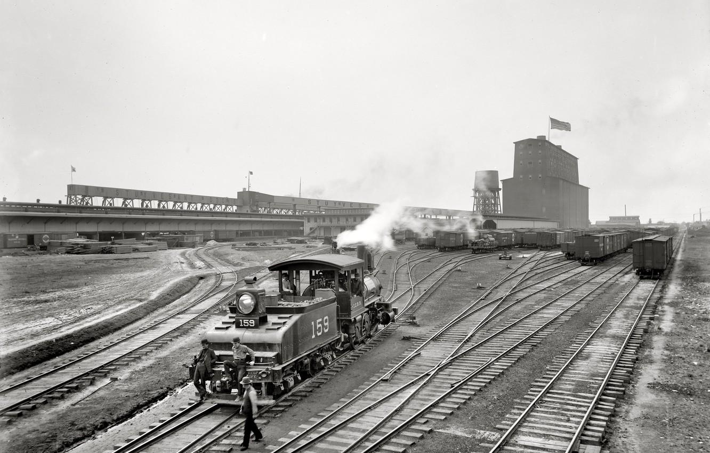 Photo wallpaper retro, train, USA, New Orleans, Louisiana, 1900-the year, Elevator