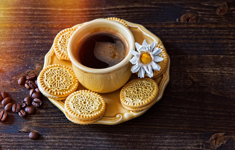 Photo wallpaper table, Cup, cookies, grain, coffee, drink, flower, saucer