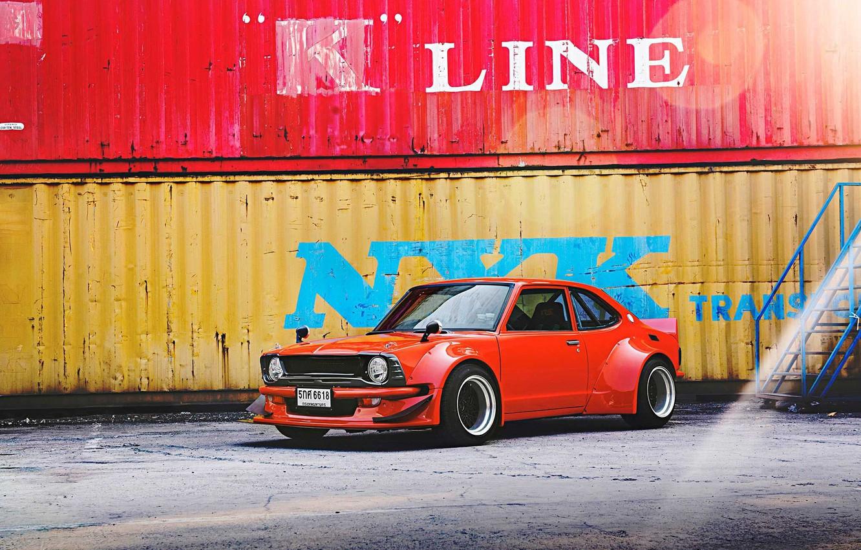 Photo wallpaper Toyota, 1970, custom, Corolla, KE25, mesh wheels, widebody kit
