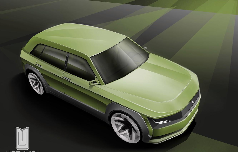Photo wallpaper Auto, The concept, The hood, Car, Car, Art, Auto, Muscovite, Moskvich 2020, Muscovite 2020