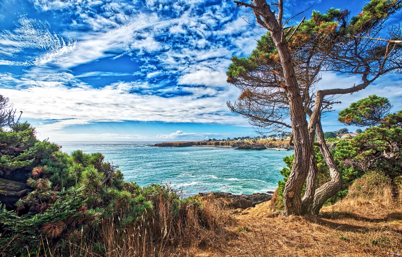 Photo wallpaper sea, the sky, the sun, clouds, trees, rocks, coast, home, treatment, horizon, CA, USA