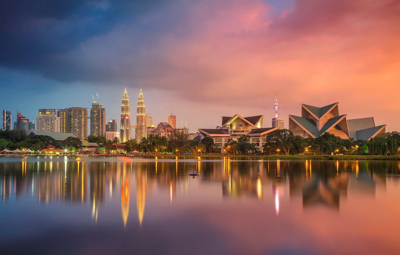 Photo wallpaper reflection, tower, skyscraper, home, panorama, Malaysia, Kuala Lumpur