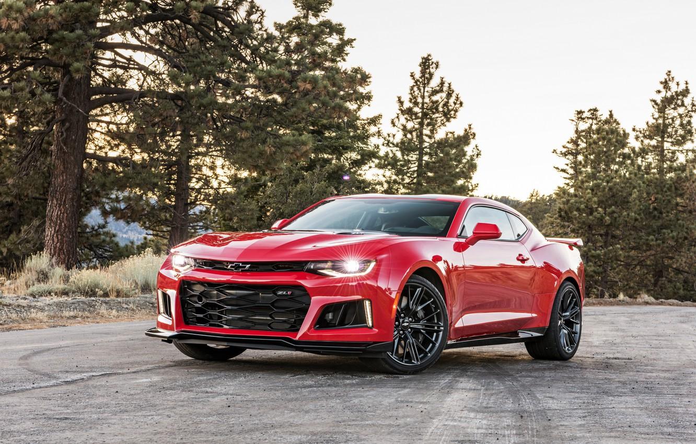 Photo wallpaper Red, Chevrolet, Camaro, Car, ZL1, 2017, Metallic