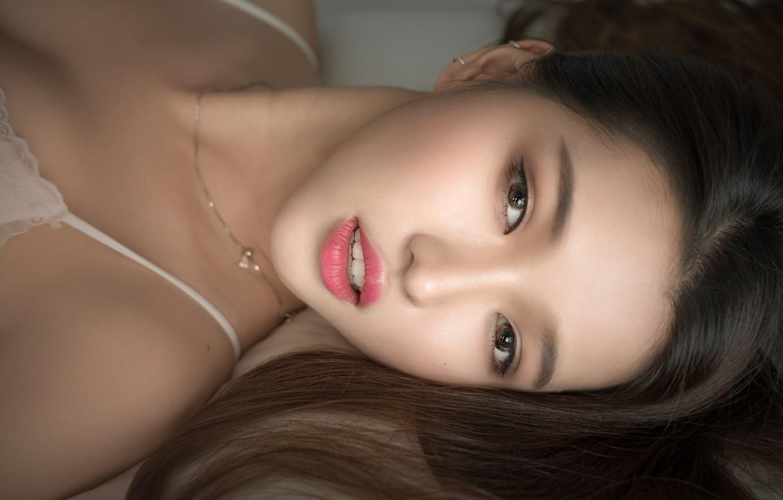 Photo wallpaper eyes, face, hair, lips