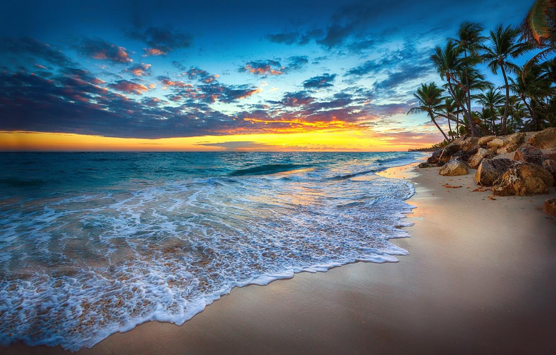 Photo wallpaper sea, wave, sunset, nature, tropics, palm trees, coast