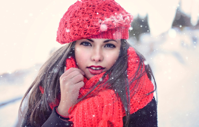 Photo wallpaper winter, girl, snow, makeup, scarf, brunette, takes, Nya, Tanya Markova