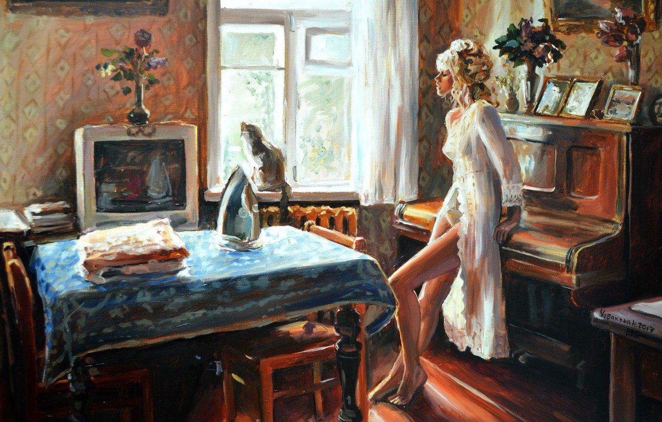 Photo wallpaper girl, art, flowers, plan, window, painting, interior, blonde, artwork, iron, table, chairs, Room, television