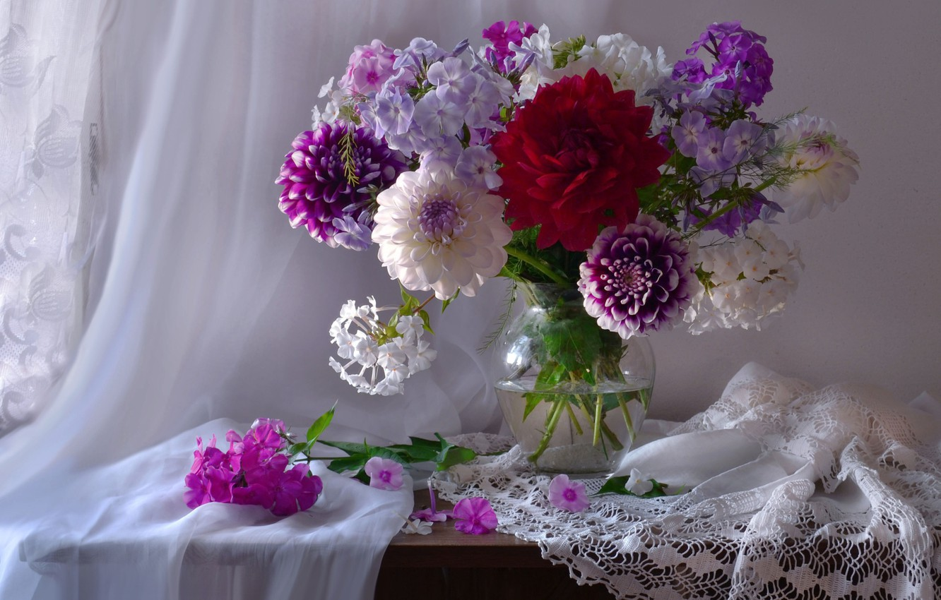 Photo wallpaper bouquet, Phlox, dahlias