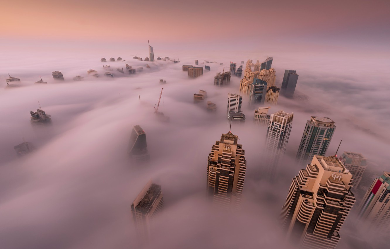 Photo wallpaper the city, fog, home, Dubai, UAE, the top