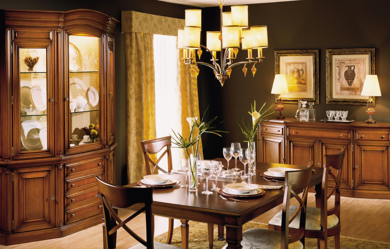 Photo wallpaper table, furniture, interior, chandelier, pictures, dining room, serving