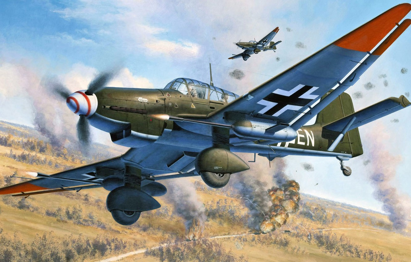 Photo wallpaper dive bomber, Junkers, Thing, Ju 87G, single double, attack aircraft of the Second world war
