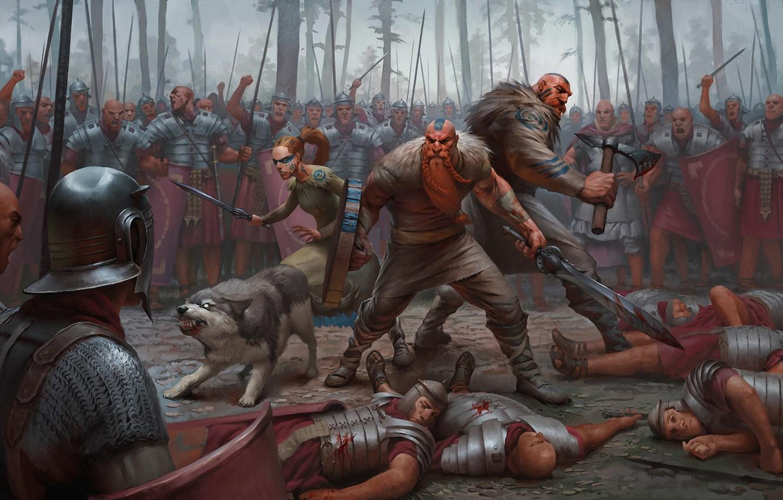 Photo wallpaper forest, weapons, battle, warrior, armor, barbarian, Legionnaire