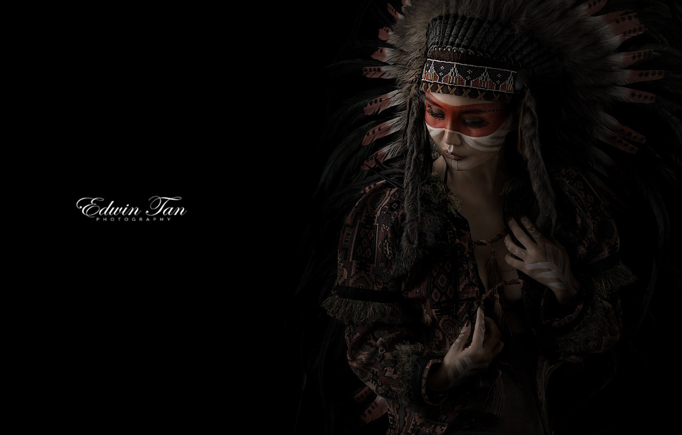 Wallpaper Woman Feathers Native American With Makeup Images For