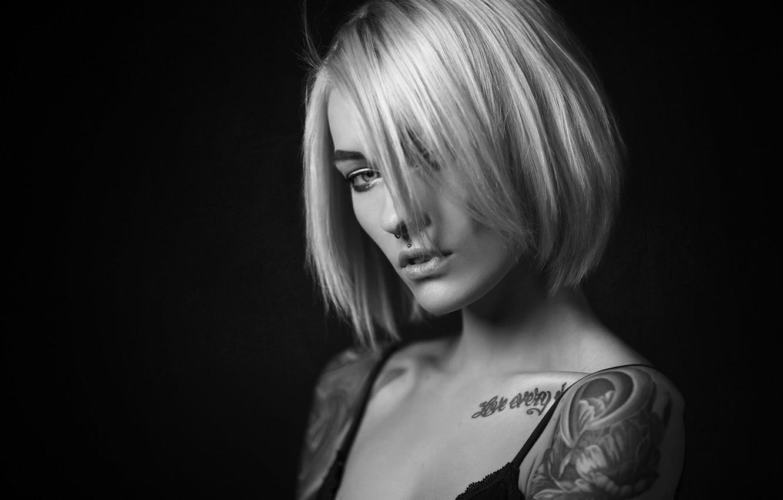 Wallpaper Black White Girl Model Tatoo Piercing Blonde