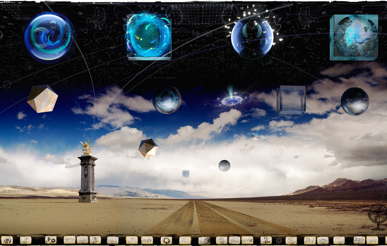 Photo wallpaper road, space, clouds, statue, cube, Arbor Lux, Digital Alchemy Landscapes