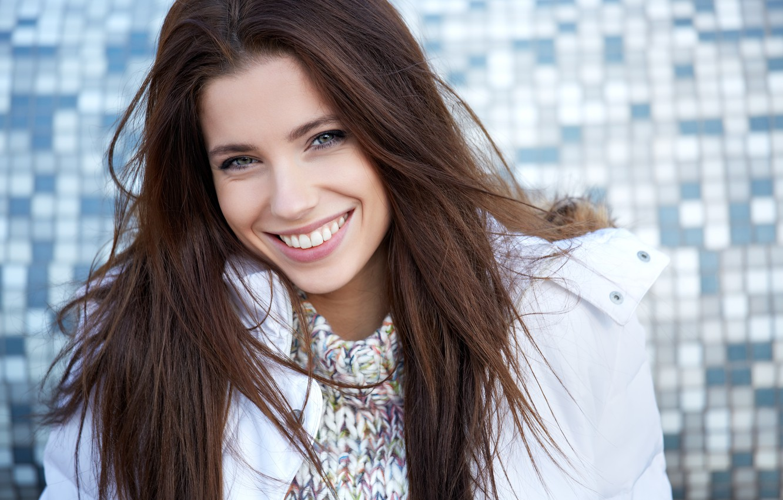 Photo wallpaper girl, smile, brown hair, long hair, Izabela Magician