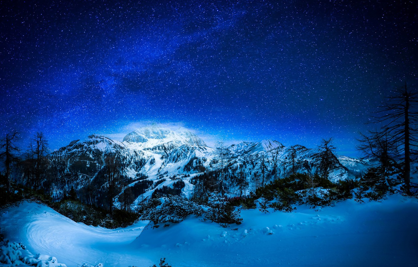 Photo wallpaper winter, forest, the sky, snow, trees, mountains, night, stars, hill