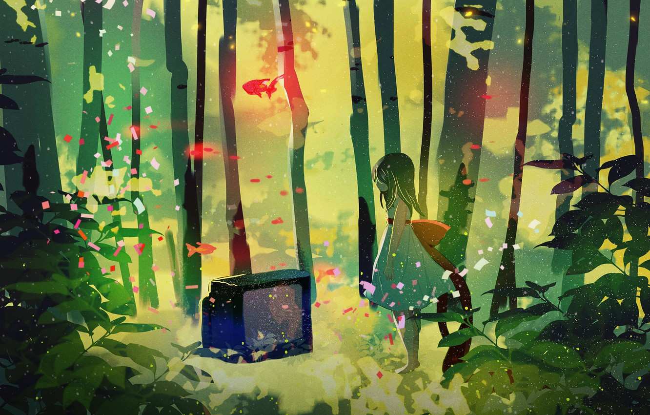 Photo wallpaper fish, lights, magic, barefoot, dress, TV, girl, bow, birch grove, alone in the forest