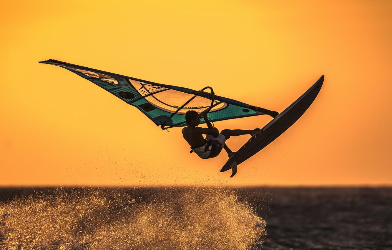 Photo wallpaper sea, sport, sail, Board