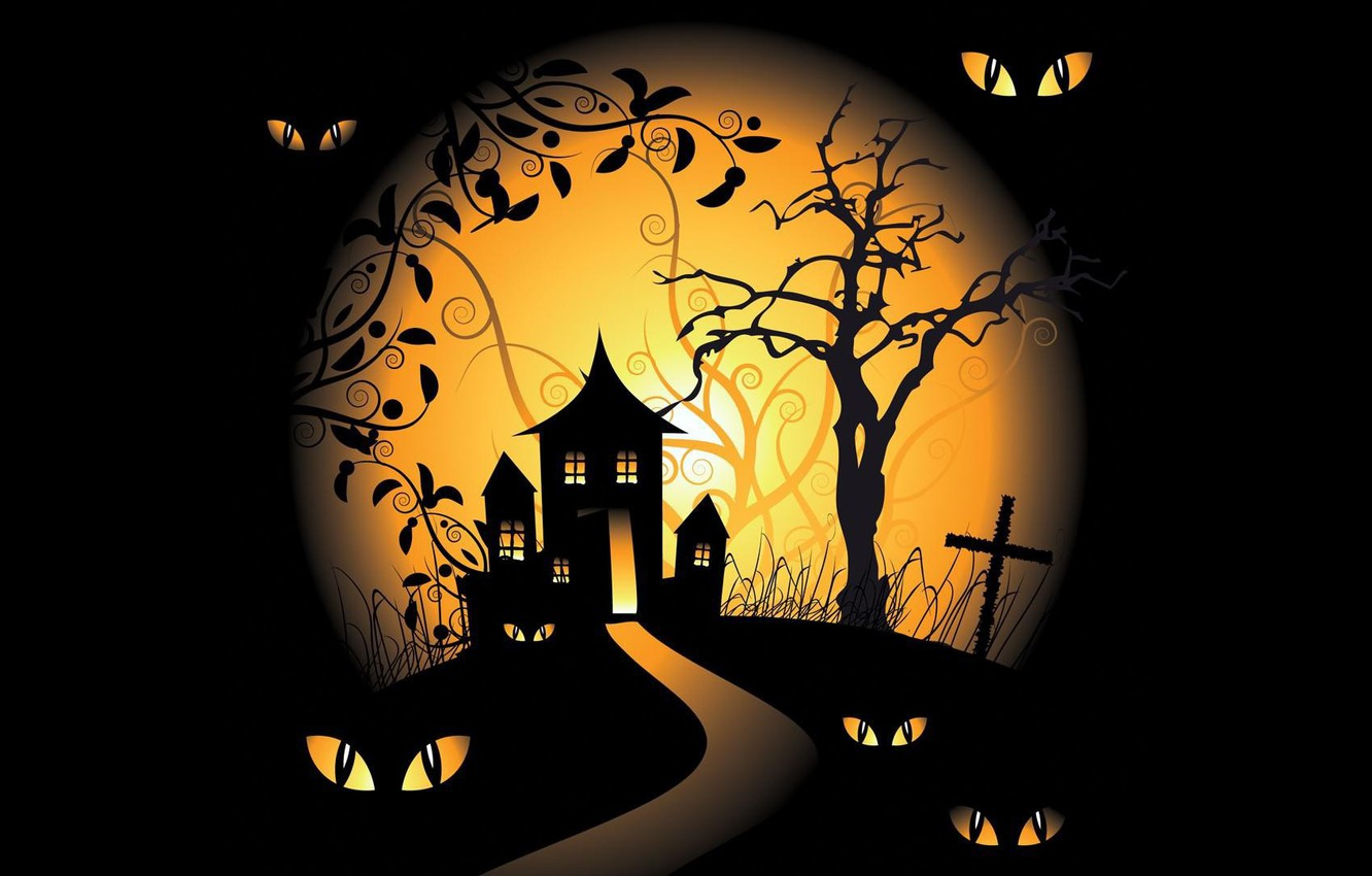 Photo wallpaper vector, Halloween, moon, trees, eyes, holiday, black background, spooky, scary house, vector art, graveyards