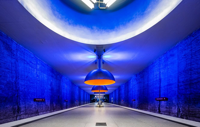 Photo wallpaper metro, station, Germany, Munich, the platform, lamp