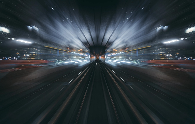 Photo wallpaper light, the city, lights, speed, excerpt