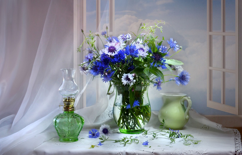 Photo wallpaper bouquet, window, pitcher, cornflowers