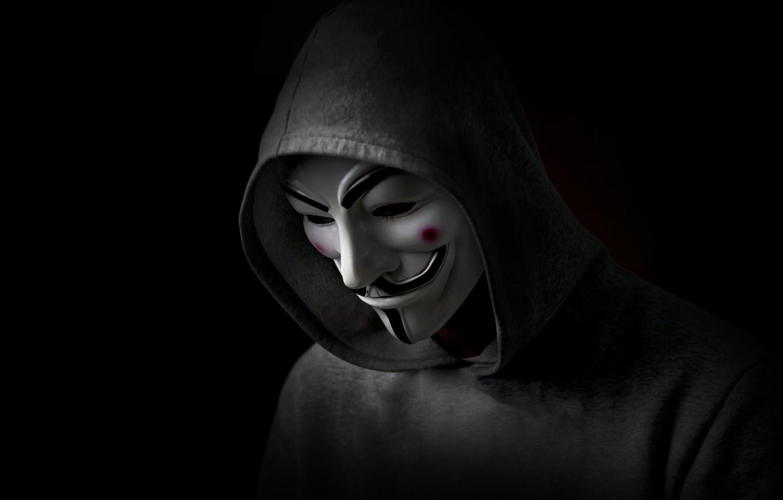 Photo wallpaper Revenge, Black, Anonymous, Man, Hood, Sight
