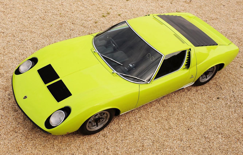 Photo wallpaper Color, Lamborghini, Retro, Green, Machine, Eyelashes, Top, Lights, Car, Supercar, 1970, Miura, Supercar, Lamborghini Miura, …