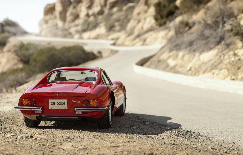 Photo wallpaper shadow, Ferrari, Ferrari, back, Retro, Dino, 206GT