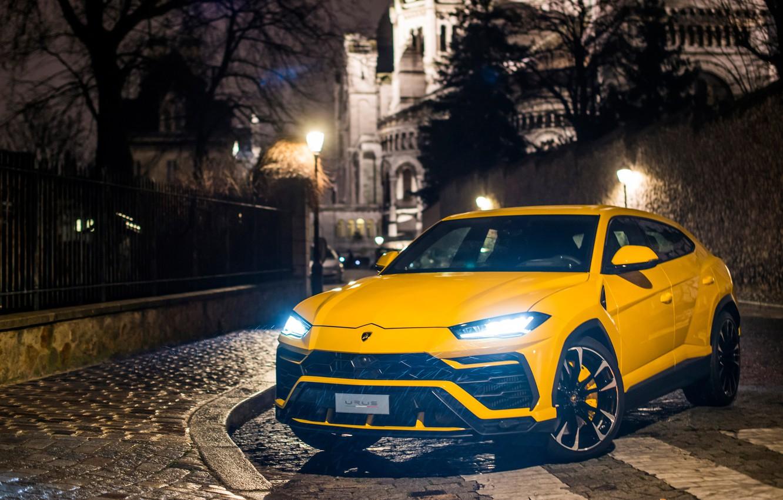 Photo wallpaper lights, Paris, Lamborghini, 2018, Urus