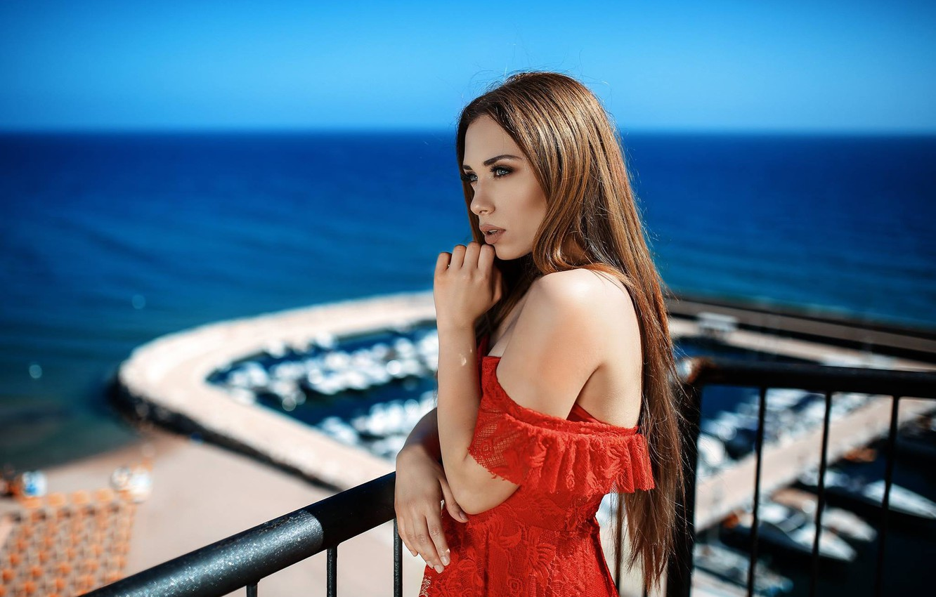 Photo wallpaper sea, model, hands, balcony, red dress, shoulder, long hair, Alessandro Di Cicco, Simona Hyun