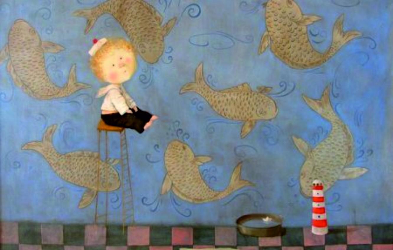 Photo wallpaper fish, boy, bowl, Eugenia Gapchinska, A small miracle