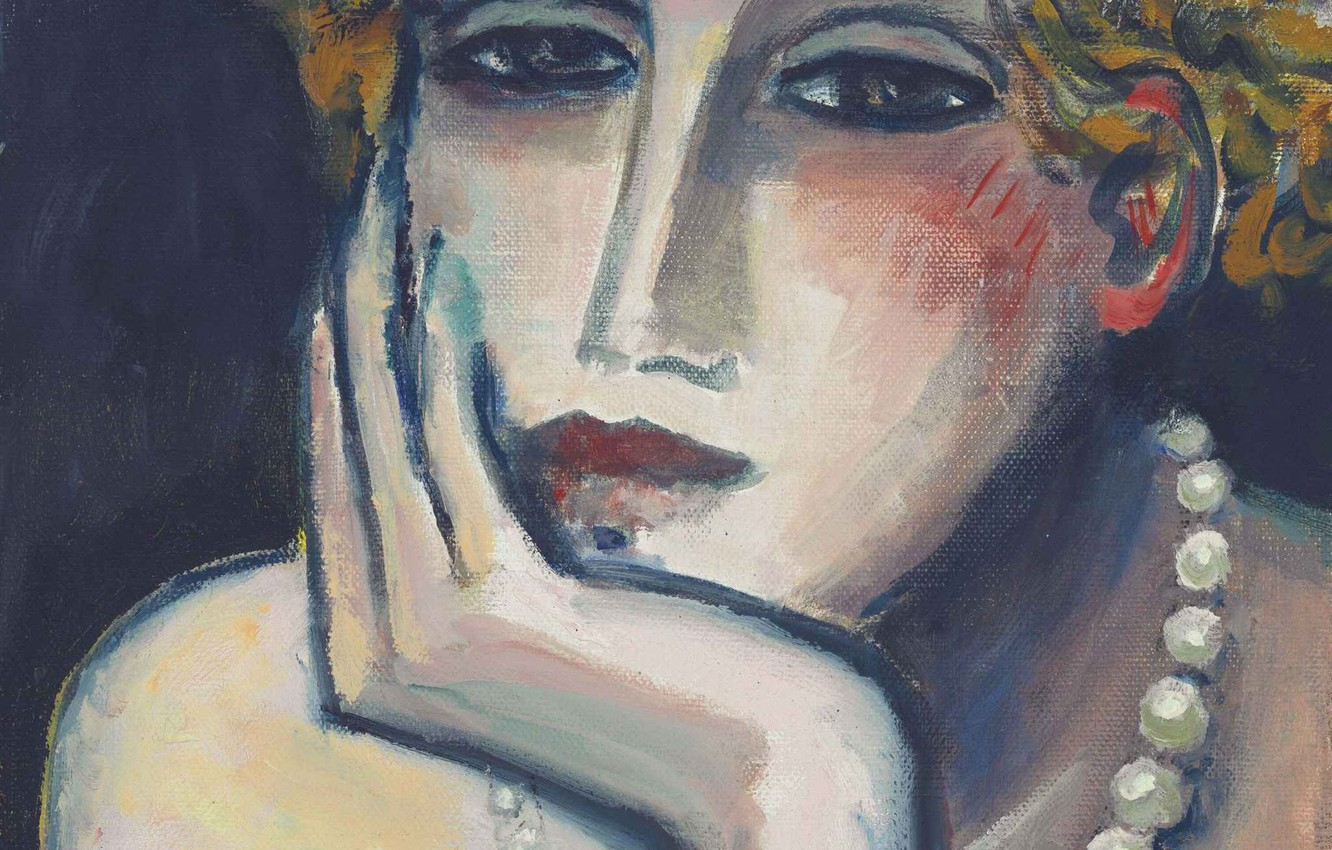 Photo wallpaper beads, 2000, sad, Modern French painting, Jean-Pierre Cassigneul, Face II