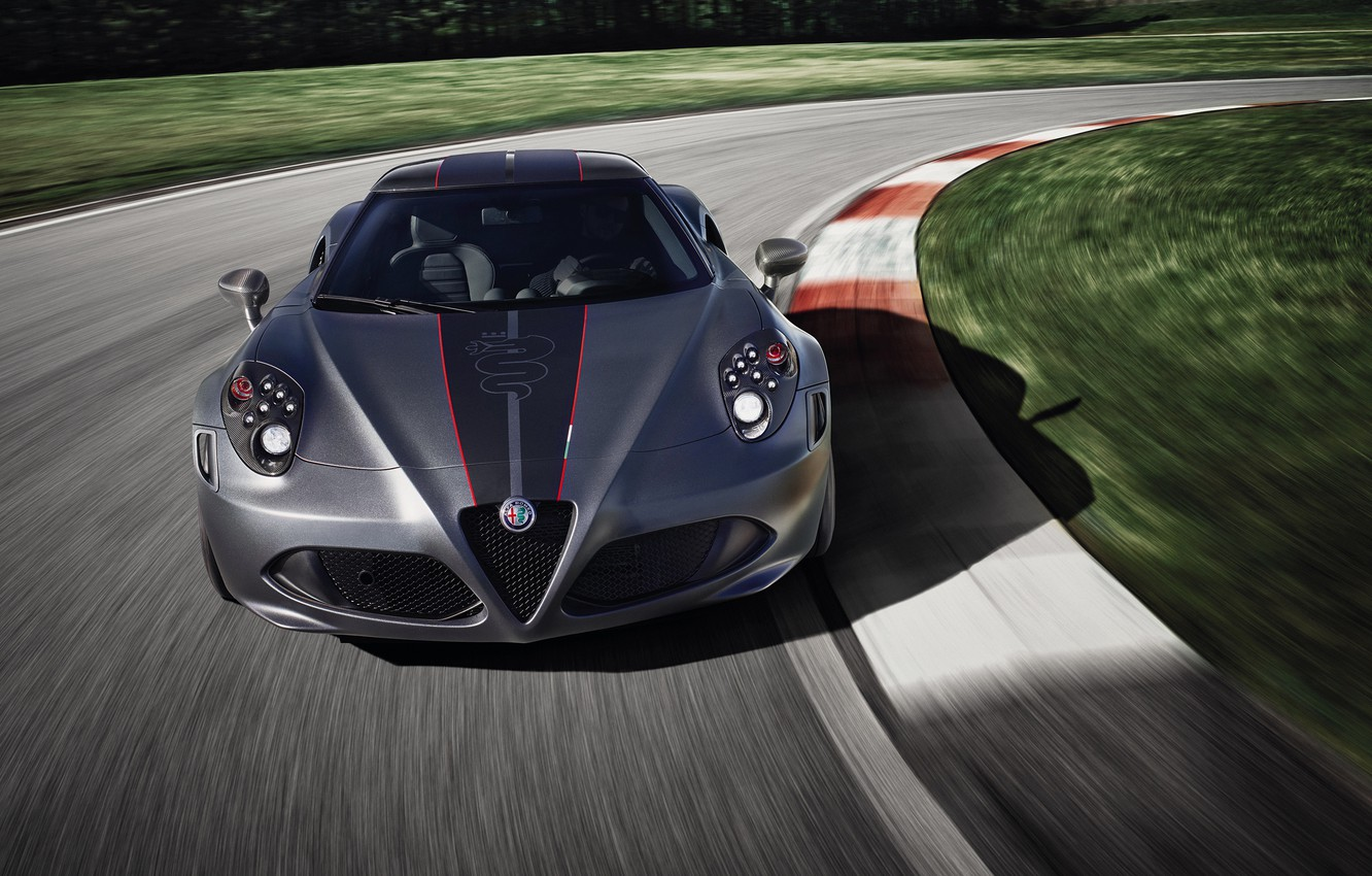 Photo wallpaper front view, racing track, 2018, Competition, Alfa Romeo 4C