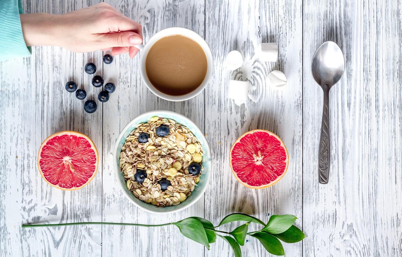 Photo wallpaper berries, Breakfast, blueberries, wood, grapefruit, coffee cup, cocoa, breakfast, muesli