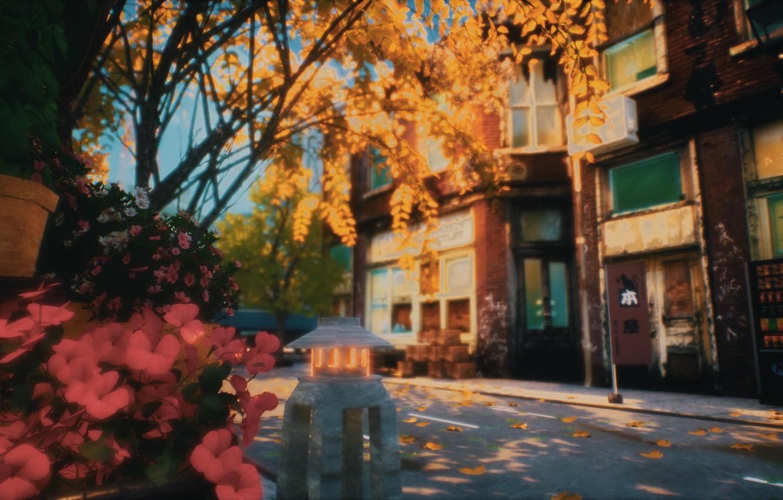 Photo wallpaper autumn, street, signs, machines