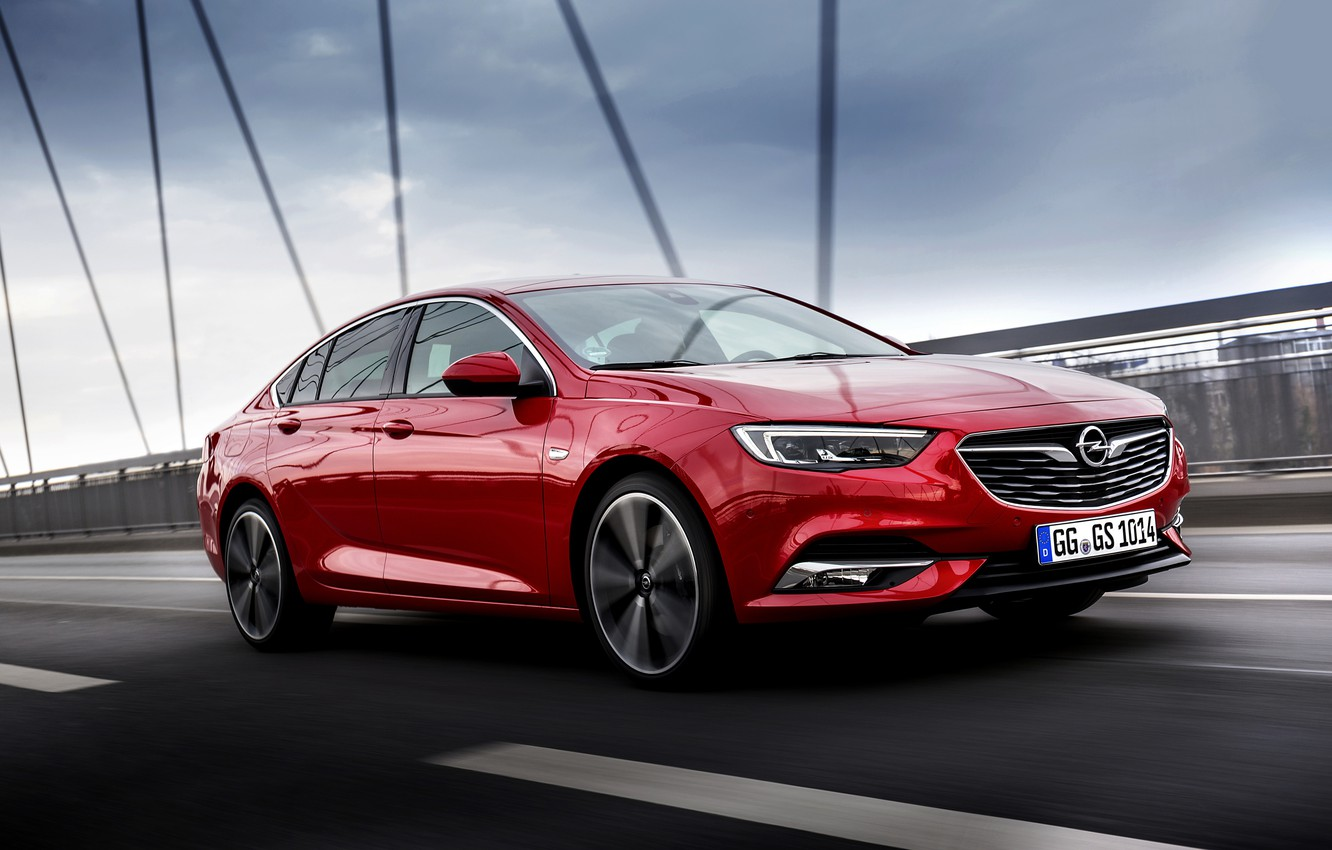 Photo wallpaper the sky, clouds, red, bridge, movement, the fence, Insignia, Opel, Insignia Grand Sport