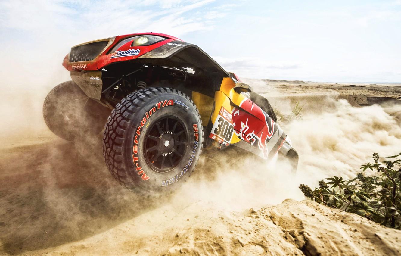 Photo wallpaper Sand, Auto, Wheel, Sport, Machine, Race, Peugeot, Red Bull, 308, Rally, Dakar, Dakar, SUV, Rally, …