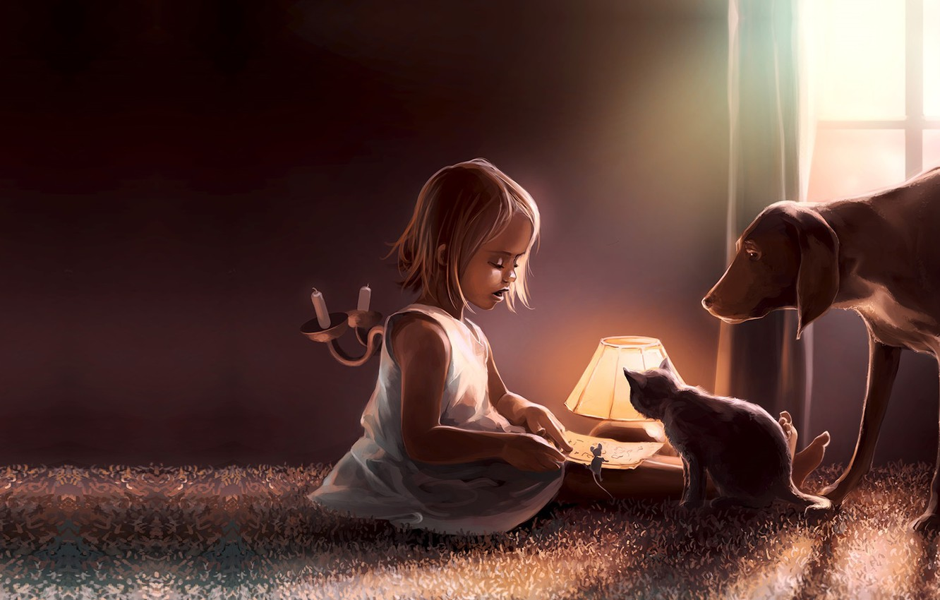 Photo wallpaper cat, the game, tale, dog, the evening, mouse, art, book, friends, children's, Coexistence, Cyril Rolando