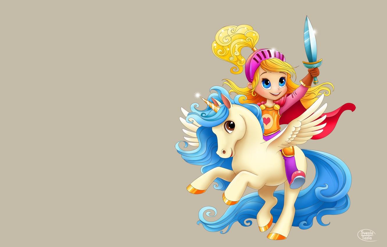 Photo wallpaper the game, art, unicorn, Pegasus, children's, horse, SveslaTasla