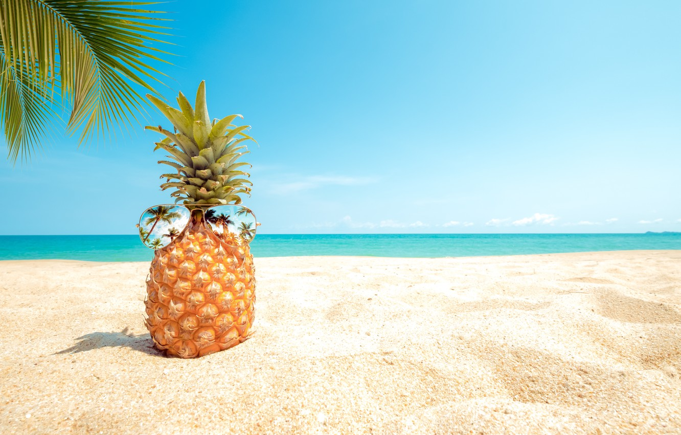 Pineapple At The Beach: Wallpaper Sand, Sea, Beach, Summer, The Sky, Palm Trees