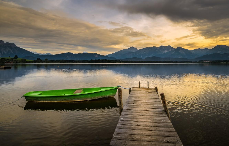 Photo wallpaper lake, boat, pier, Germany, Bavaria, Through to bebel