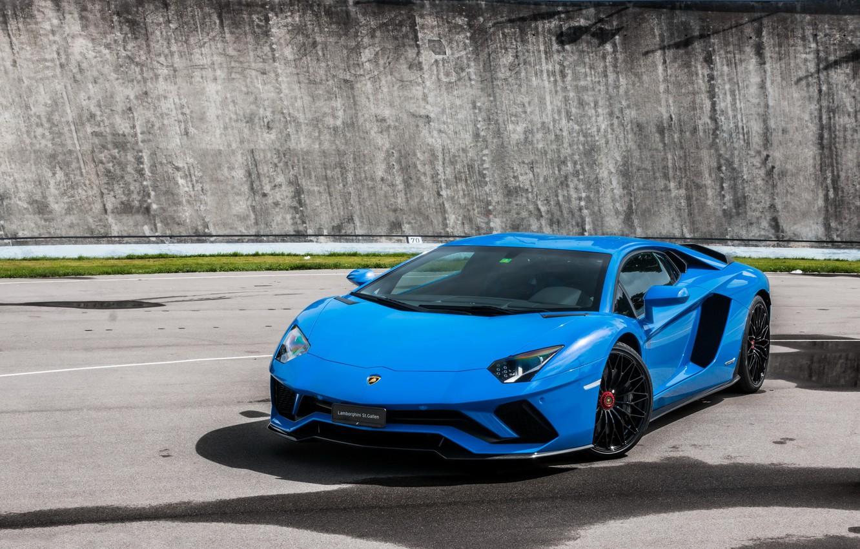 Photo wallpaper Lamborghini, Blue, Aventador, s